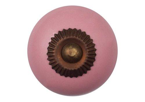 Meubelknop 40mm porselein roze - brons