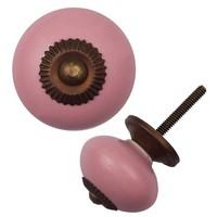 Porseleinen meubelknop roze - brons