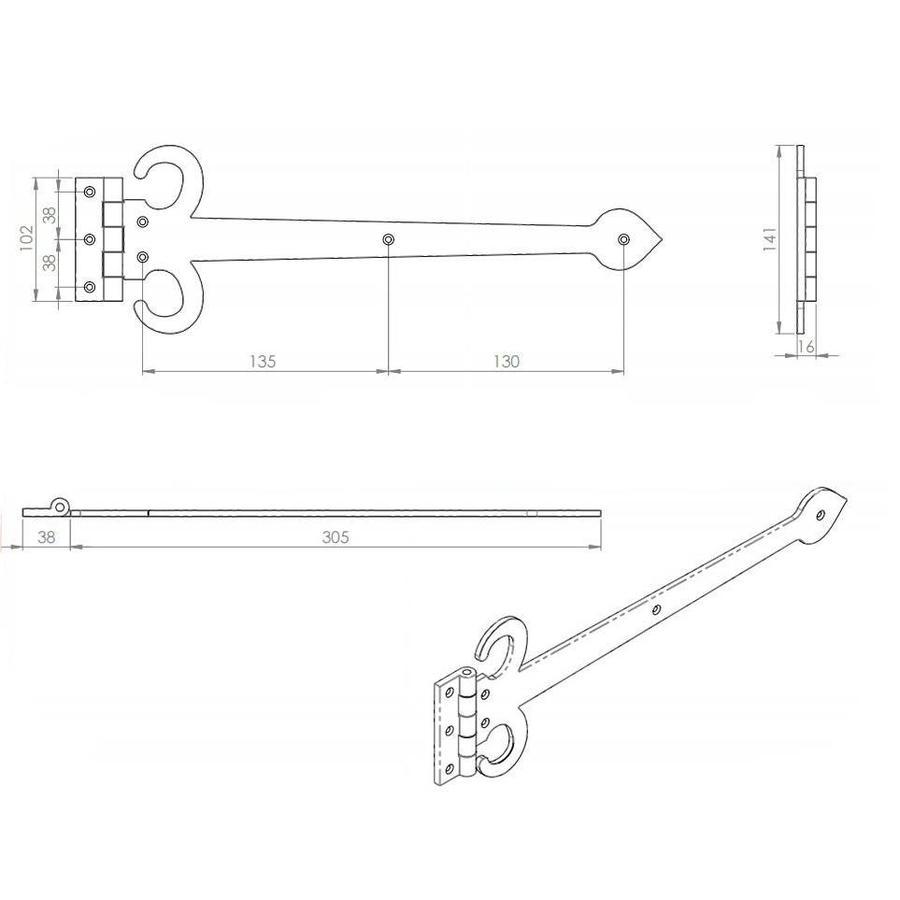 Gietijzeren scharnier zwaard, zwart - 343mm