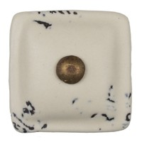 Porseleinen meubelknop crème wit - brons