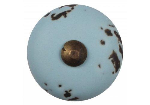 Meubelknop lichtblauw 31 mm - brons