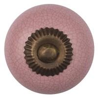 Porseleinen meubelknop roze gekrakeleerd - fijn