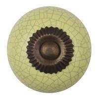 Porseleinen meubelknop geel gekrakeleerd - fijn