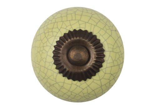 Meubelknop 40mm geel gekrakeleerd - fijn