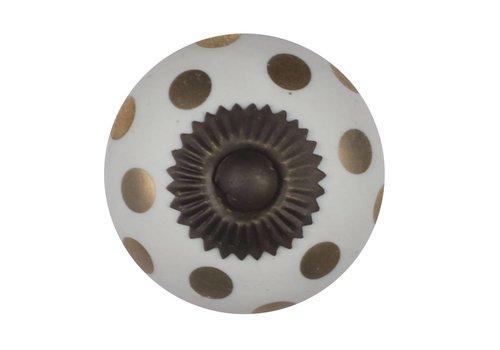 Meubelknop wit goud gestippeld - brons
