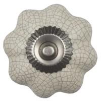 Porseleinen meubelknop crème wit bloem gekrakeleerd - fijn