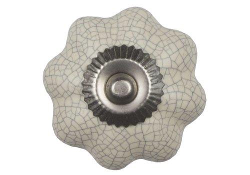 Meubelknop 40mm crème wit bloem gekrakeleerd - fijn