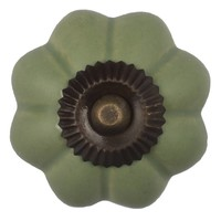 Porseleinen meubelknop bloem groen - brons