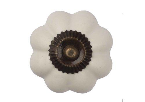 Meubelknop bloem wit - brons