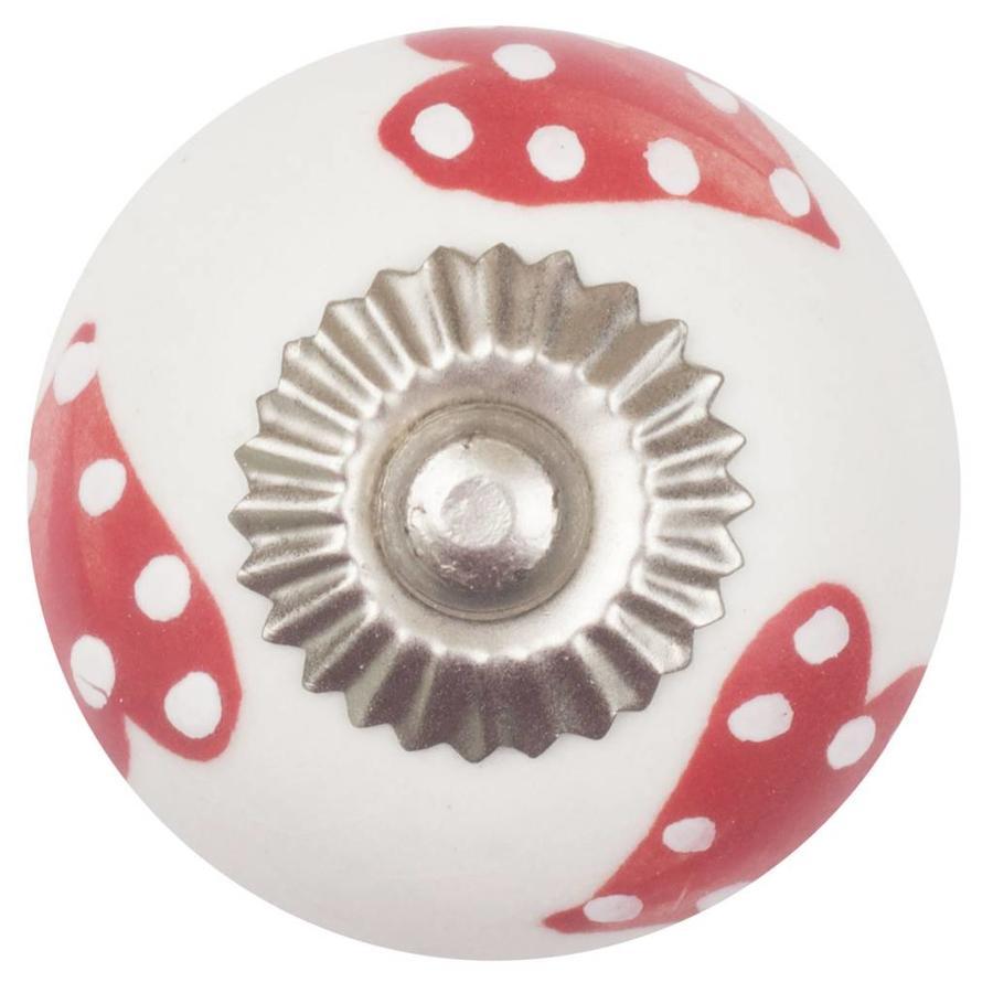 Porseleinen meubelknop wit rode gestippelde grote harten