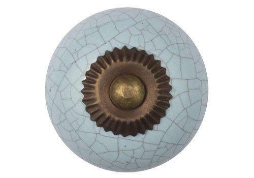 Meubelknop 40mm lichtblauw gekrakeleerd - fijn