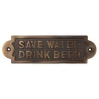 "Tekstbordje ""Save Water Drink Beer"" - messing donker"