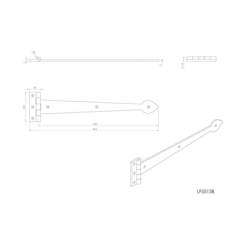 Gietijzeren scharnier Speer 430 mm
