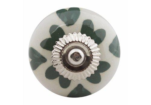 Meubelknop wit groen hartjes