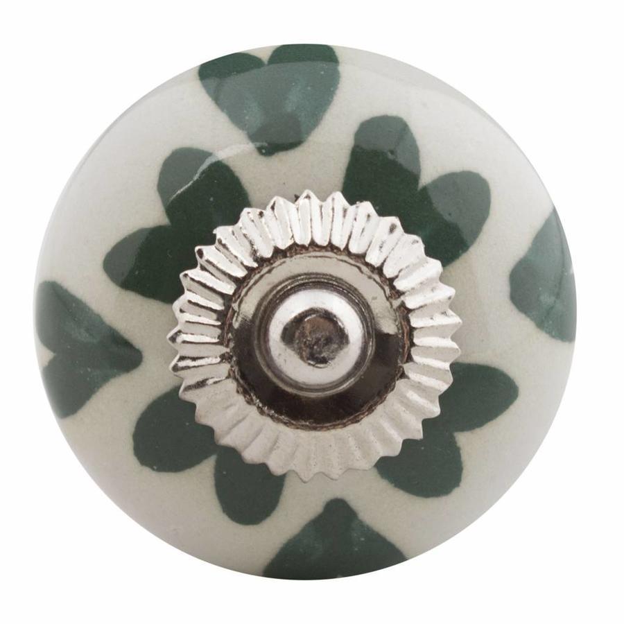 Porseleinen meubelknop wit met groen hartjes