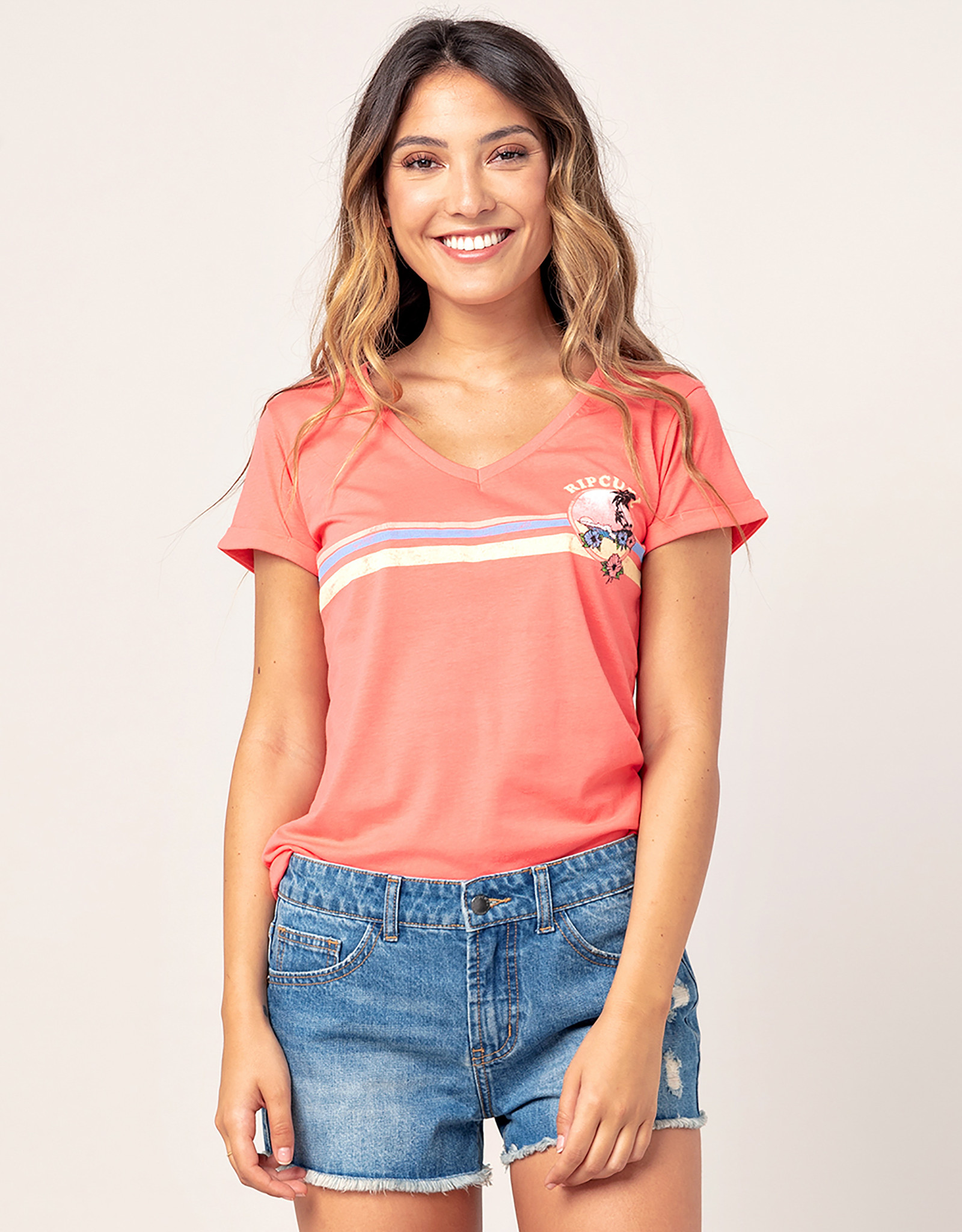 Rip Curl Golden State V Neck T-Shirt mit V-Ausschnitt