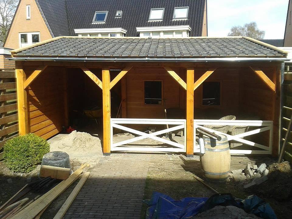 Douglas overkapping op maat houten veranda houthandel van gelder