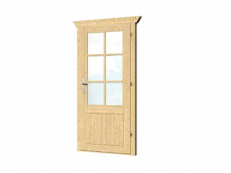 Tuindeco Enkele vuren deur met kozijn enkel glas D6 | B83xH190cm
