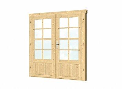 Vuren dubbele deur en kozijn dubbel glas DL7