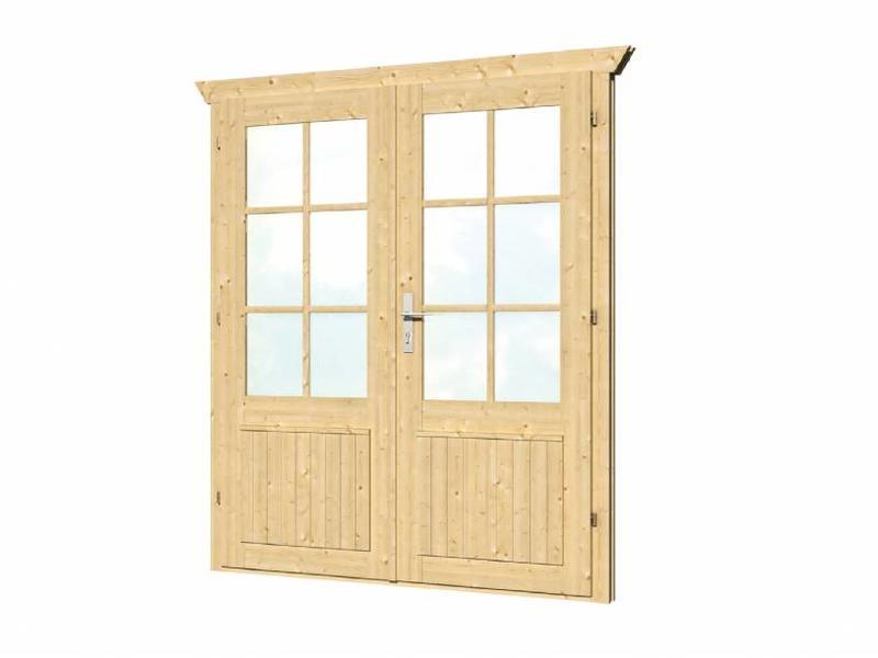 Tuindeco Vuren dubbele deur en kozijn enkel glas D3 | B159xH190cm