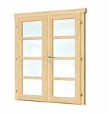 Tuindeco Vuren dubbele deur en kozijn enkel glas D1 | B142.5xH190cm