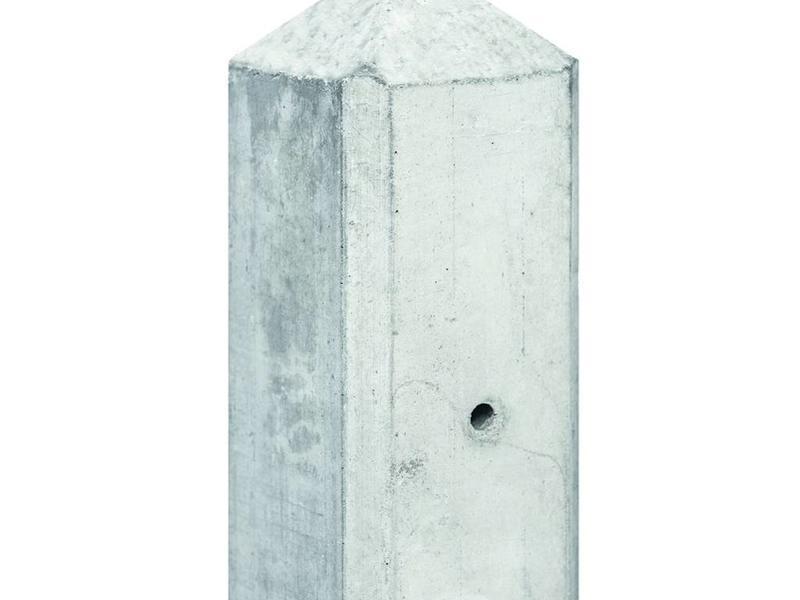Tuindeco Betonpaal lichtgrijs voor 2 motiefplaten met diamantkop en vellingkant
