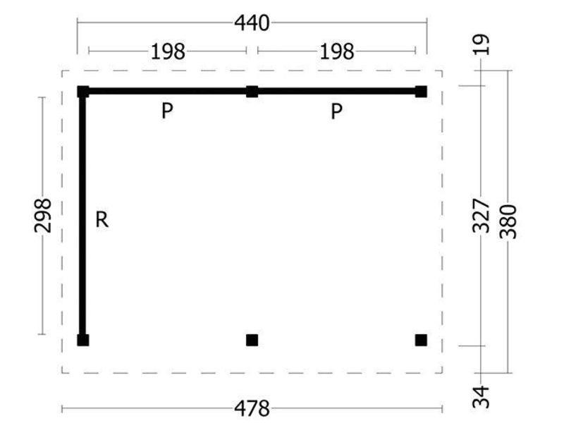 Tuindeco Overkapping plat dak Oslo L Type 1 478x380cm