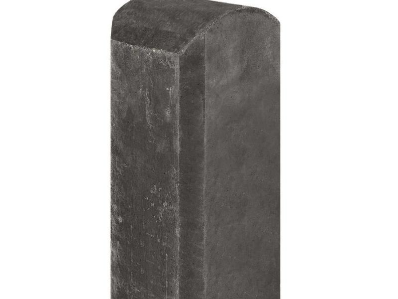 Betonpaal antraciet, halfronde kop en vellingkant, tussenmodel