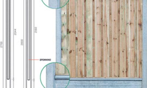 Hout Beton Schutting Systeem voor Tuinschermen en/of Betonplaten