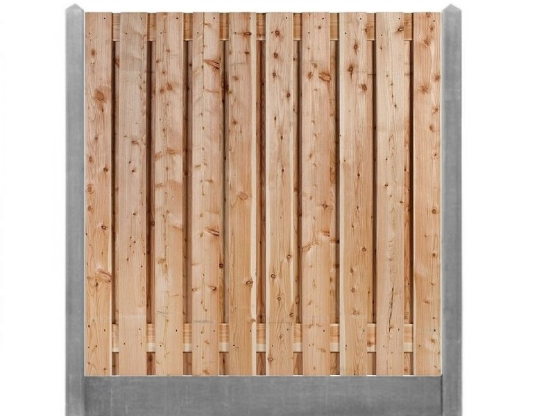 Douglas 17 planks tuinscherm met grijze betonpalen