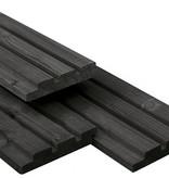 Tuindeco Vuren Triple Profiel Rhombus Plank 22x140mm zwart gespoten