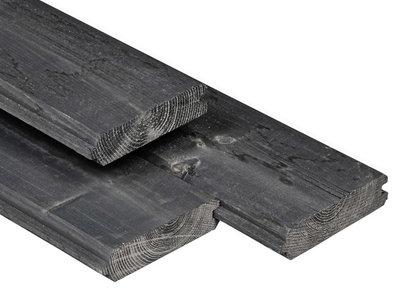 Vuren Blokhutprofiel Plank 28x181mm Zwart Geïmpregneerd