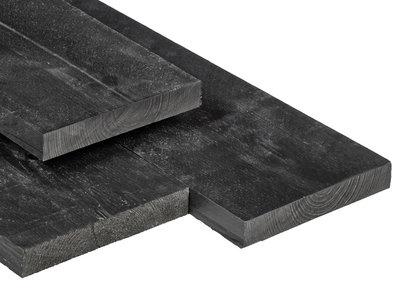 Grenen Schuttingplank / Tuinplank 20x200mm Zwart Gespoten Scherpkantig