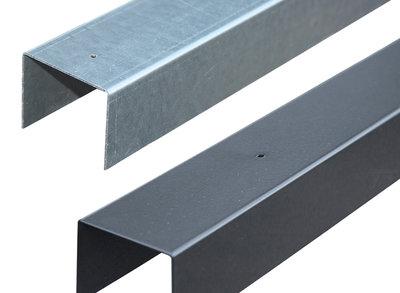 Afdeklijst U-profiel voor 3 Planks Tuinscherm (Verzinkt)