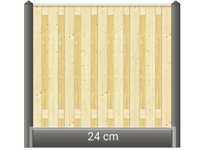 Betonpaal hout beton schutting wit / grijs diamantkop 1 onderplaat
