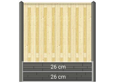 Betonpaal hout beton schutting wit / grijs diamantkop extra hoog