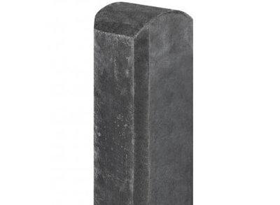 Betonpaal hout beton schutting antraciet halfronde kop 1 onderplaat