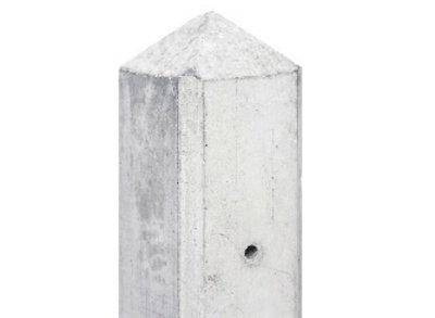 Betonpaal hout beton schutting wit / grijs diamantkop extra hoog - MAAS