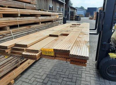 Restant partij Douglas Vlonderplanken per volle bundel a 22 stuks  28x140x4000 mm Met Profiel - B886