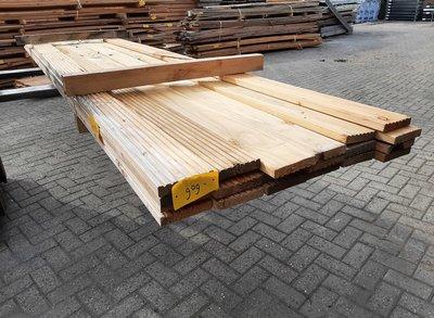Restant partij Douglas Vlonderplanken per volle bundel a 20 stuks  28x140x4000 mm Met Profiel - B909