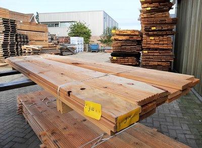 Restant partij Douglas Vlonderplanken per volle bundel a 17 stuks  28x140x3000 mm Met Profiel - B910