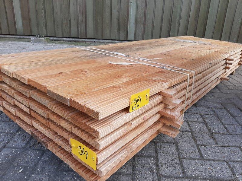 Restant partij Douglas Vlonderplanken per volle bundel a 42 stuks  28x140x3000 mm Met Profiel - B967