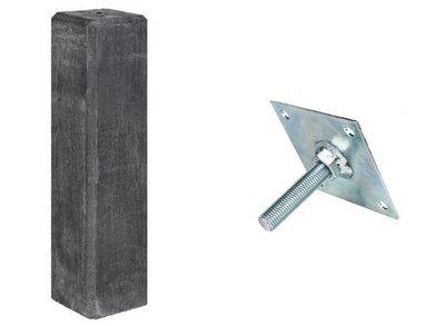 Betonpoer recht antraciet met stelplaat