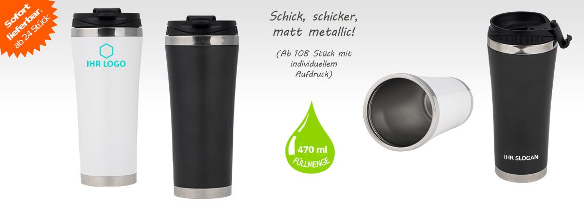 Thermobecher Edelstahl - 470 ml, individuell bedrucken, auslaufsicher, schwarz, weiß, Thermosbecher