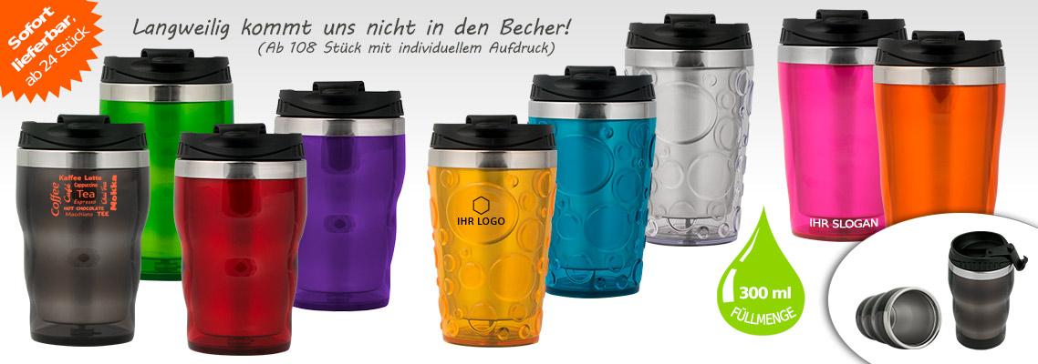 Thermobecher Modellreihe Rainbow - Mehrwegbecher Edelstahl & Kunststoff 300 ml auslaufsicher