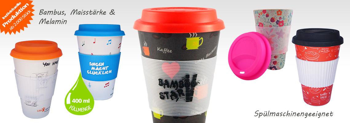 Bambusbecher Kaffeebecher nachhaltig aus natürlichen Rohstoffen - Mehrwegbecher coffee to go aus Bambus
