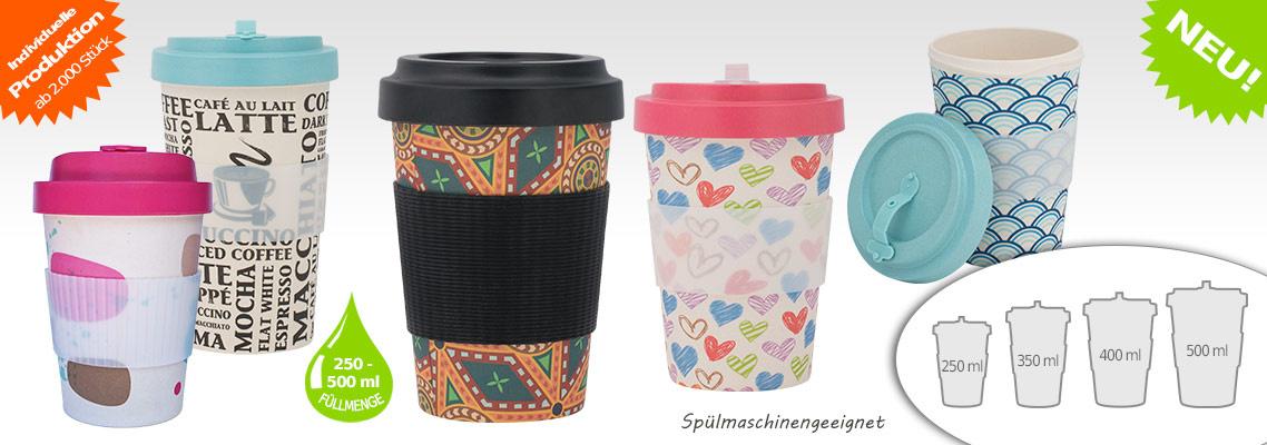 Bambus Coffee to go Becher nachhaltig, Mehrweg Kaffeebecher aus natürlichen Rohstoffen