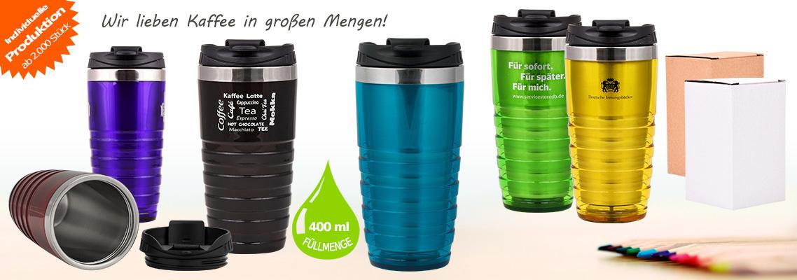 Thermobecher Coffee to go Kunststoff & Edelstahl - 400 ml, individuell bedrucken, 100% auslaufsicher, blau, grün, rot, orange, braun, schwarz