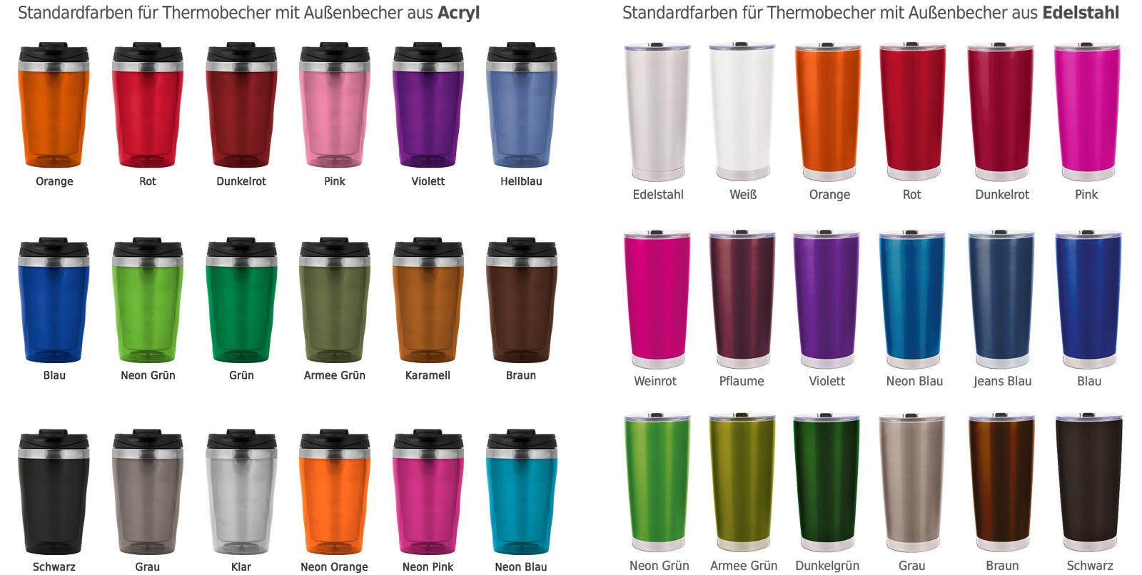 Farben - Cup Trends Thermobecher, orange, rot, pink, blau, grün, braun, schwarz