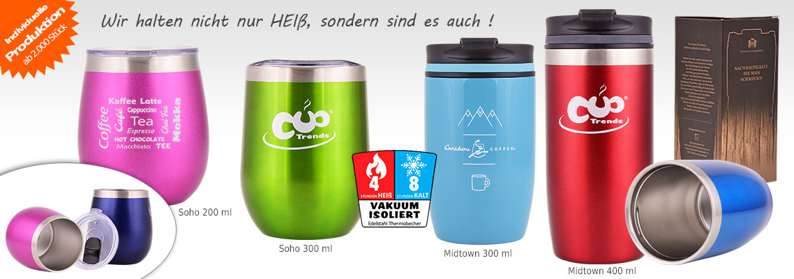 Thermobecher - auslaufsichere Mehrwegbecher Kaffeebecher Edelstahl - vakuumisoliert